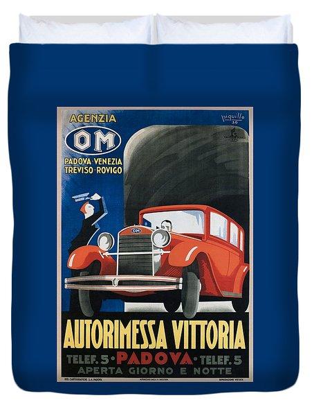 Autorimessa Vittoria  Art Deco Poster Duvet Cover
