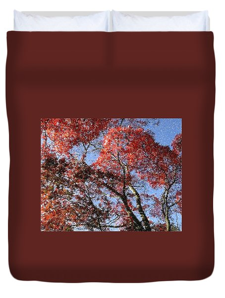 Autum Trees Illustrated Duvet Cover
