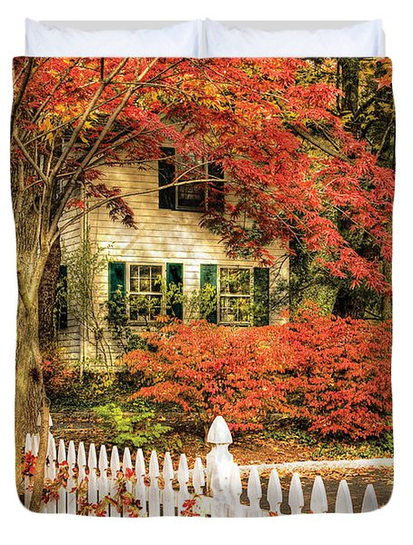 Autumn - House - Festive  Duvet Cover by Mike Savad