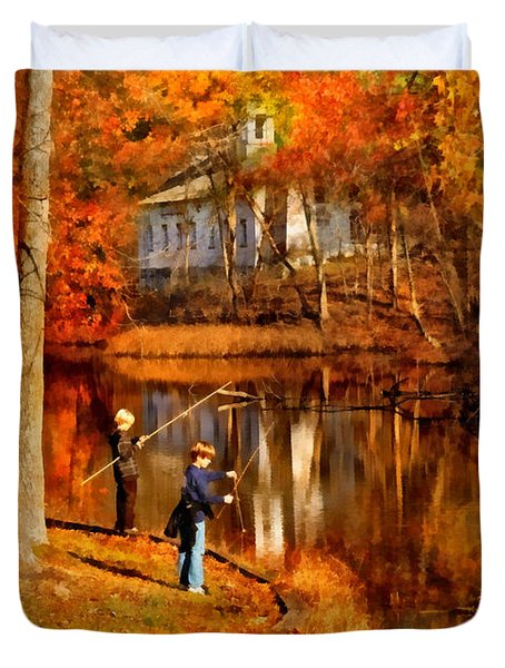 Autumn - People - Gone Fishing Duvet Cover by Mike Savad