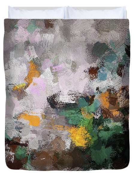 Duvet Cover featuring the painting Autumn Abstract Painting by Ayse Deniz