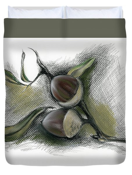 Autumn Acorns On An Oak Twig Duvet Cover
