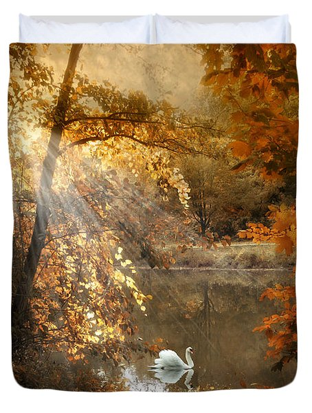Duvet Cover featuring the photograph Autumn Afterglow by Jessica Jenney