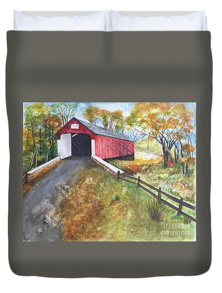 Duvet Cover featuring the painting Autumn Afternoon At Knechts Covered Bridge by Lucia Grilletto
