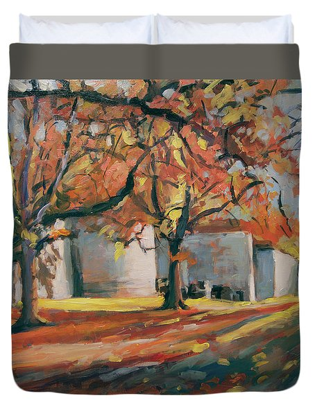 Autumn Along Maastricht City Wall Duvet Cover