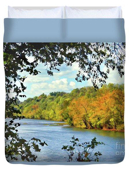 Autumn Along The New River - Bisset Park - Radford Virginia Duvet Cover