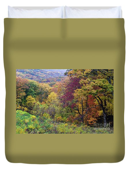 Duvet Cover featuring the photograph Autumn Arrives In Brown County - D010020 by Daniel Dempster