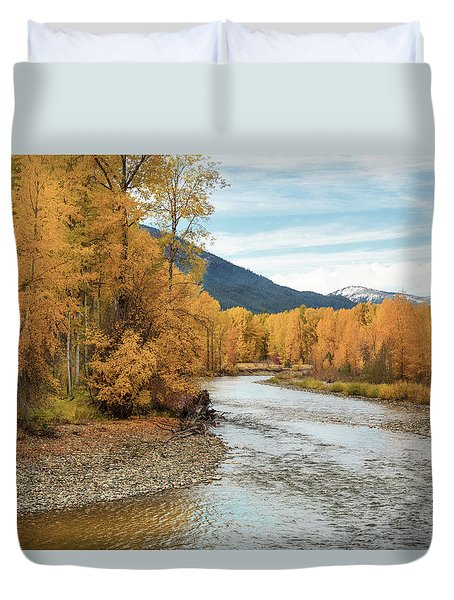 Duvet Cover featuring the photograph Autumn Aspen By The River by Mary Jo Allen