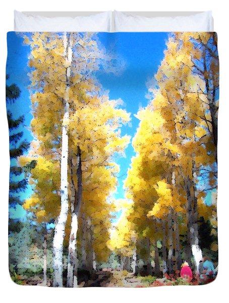 Duvet Cover featuring the digital art Autumn Aspens by Deleas Kilgore