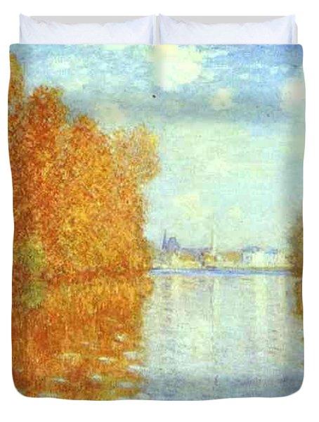Autumn At Argenteuil Claude Oscar Monet Duvet Cover