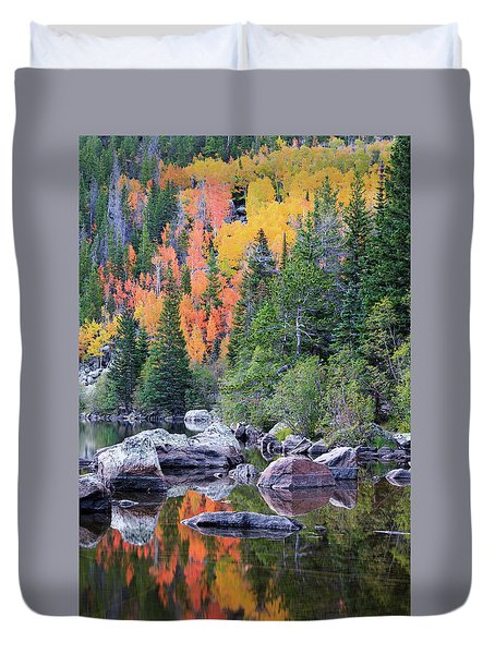 Duvet Cover featuring the photograph Autumn At Bear Lake by David Chandler