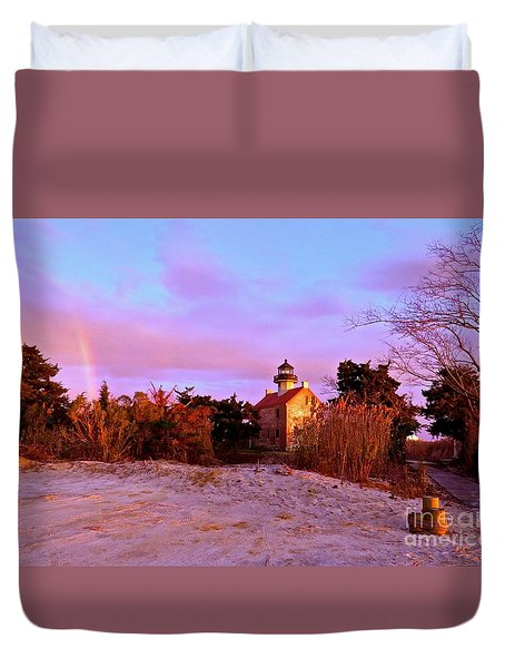 Autumn At East Point Lighthouse Duvet Cover by Nancy Patterson