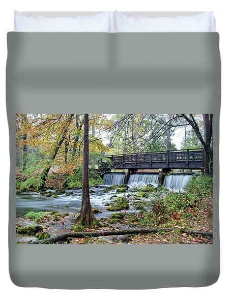Duvet Cover featuring the photograph Autumn At Maramec Spring by Cricket Hackmann