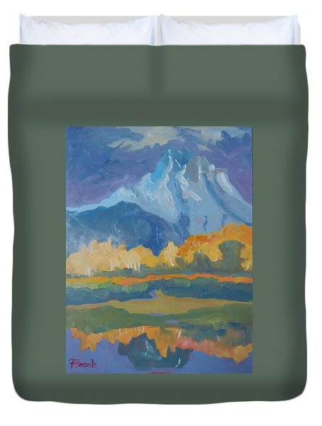 Duvet Cover featuring the painting Autumn At Mt. Moran by Francine Frank