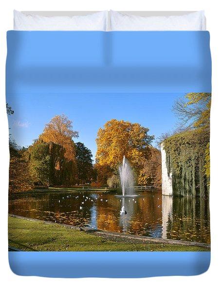 Autumn At The City Park Pond Maastricht Duvet Cover by Nop Briex