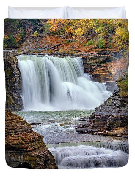 Autumn At The Lower Falls Duvet Cover by Rick Berk