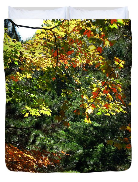Duvet Cover featuring the photograph Autumn Backyard by Joan  Minchak