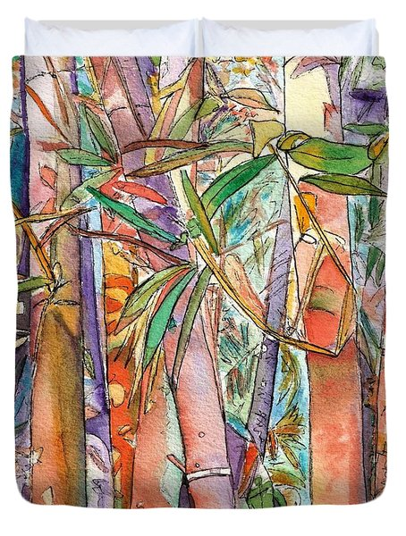 Duvet Cover featuring the painting Autumn Bamboo by Marionette Taboniar