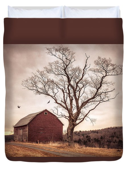 Duvet Cover featuring the photograph Autumn Barn And Tree by Gary Heller