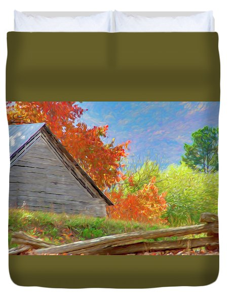 Autumn Barn Digital Watercolor Duvet Cover