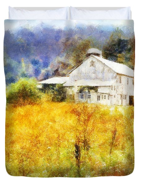 Duvet Cover featuring the digital art Autumn Barn In The Morning by Francesa Miller