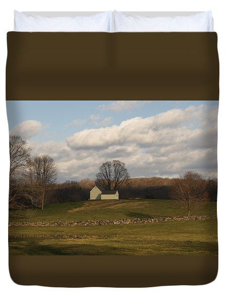 Autumn Barn On The Meadow Duvet Cover