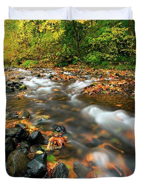 Autumn Beneath Duvet Cover by Mike  Dawson