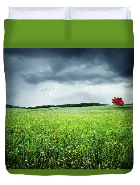 Duvet Cover featuring the photograph Autumn by Bess Hamiti
