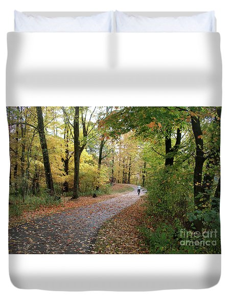 Duvet Cover featuring the photograph Autumn Bicycling by Felipe Adan Lerma