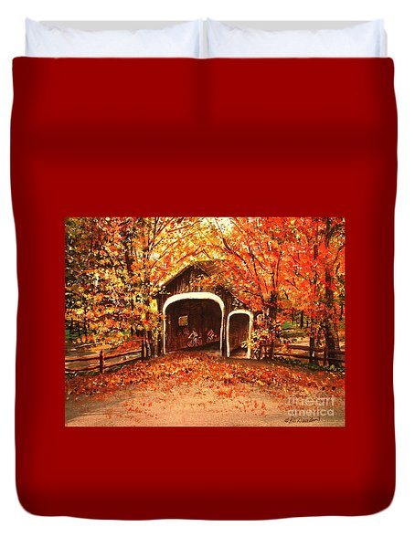Duvet Cover featuring the painting Autumn Bike Ride by Patricia L Davidson