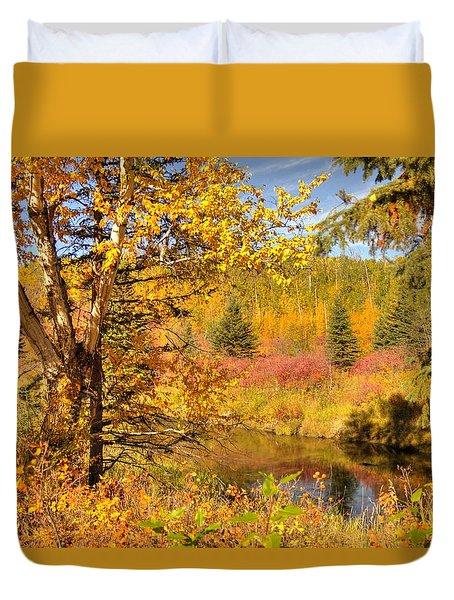 Duvet Cover featuring the photograph Autumn Birch Tree by Jim Sauchyn