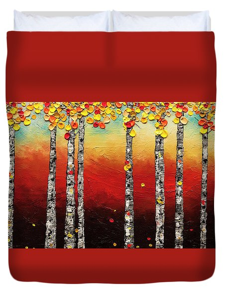 Duvet Cover featuring the painting Autumn Birch Trees by Carmen Guedez