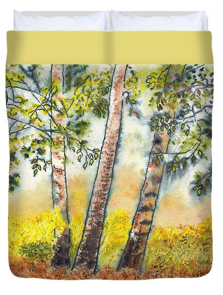 Autumn Birch Trees Duvet Cover