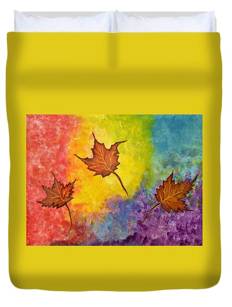 Autumn Bliss Colorful Abstract Painting Duvet Cover