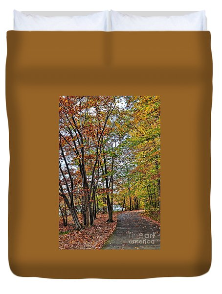 Duvet Cover featuring the photograph Autumn Bliss by Gina Savage