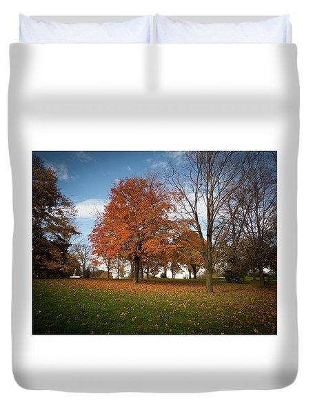 Duvet Cover featuring the photograph Autumn Bliss by Kimberly Mackowski