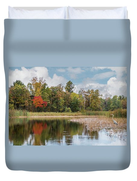 Duvet Cover featuring the photograph Autumn Blue Heron by Patti Deters