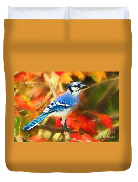 Autumn Blue Jay Duvet Cover by Tina LeCour