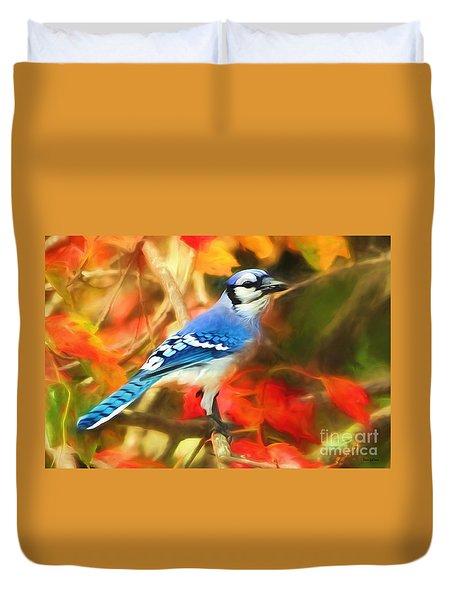 Autumn Blue Jay Duvet Cover