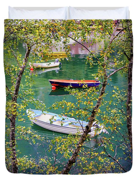 Duvet Cover featuring the photograph Autumn. Boats by Dmytro Korol