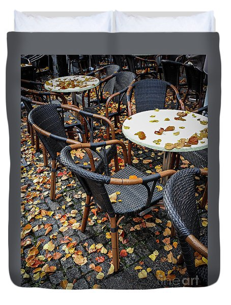 Duvet Cover featuring the photograph Autumn Cafe by Elena Elisseeva
