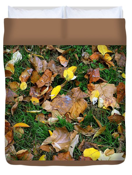 Duvet Cover featuring the photograph Autumn Carpet 002 by Dorin Adrian Berbier