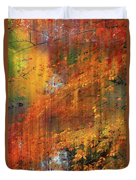 Duvet Cover featuring the photograph Autumn Cascade by Jessica Jenney