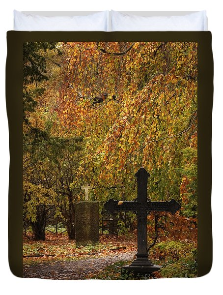 Duvet Cover featuring the photograph Autumn Cemetary by Inge Riis McDonald