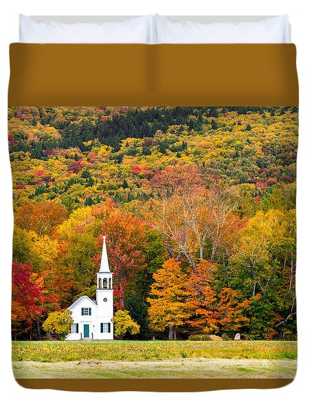 Duvet Cover featuring the photograph Autumn Chapel by Robert Clifford