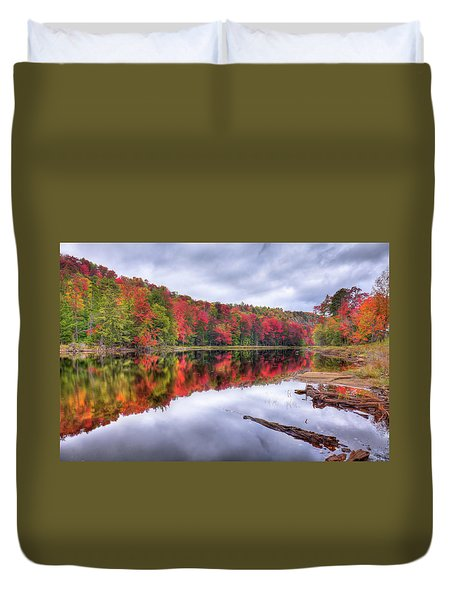 Duvet Cover featuring the photograph Autumn Color At The Pond by David Patterson