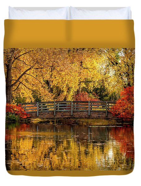 Autumn Color By The Pond Duvet Cover
