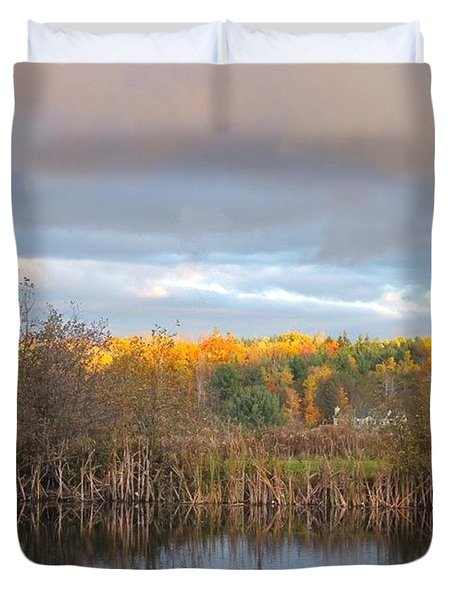 Autumn Color Gray Sky  Duvet Cover