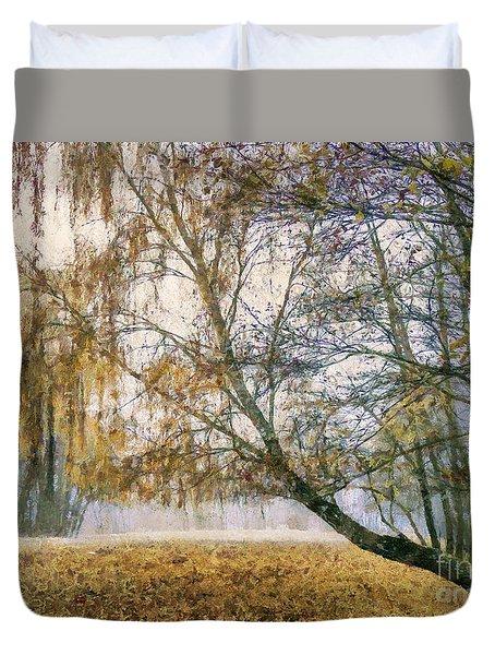 Autumn Colorful Birch Trees Paint Duvet Cover