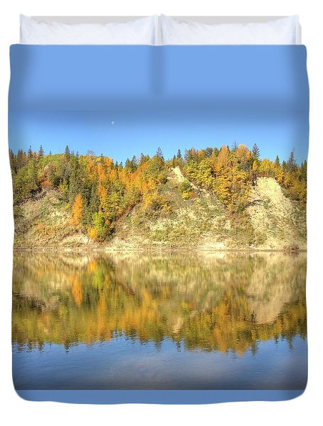 Autumn Colors On The North Saskatchewan River Duvet Cover by Jim Sauchyn